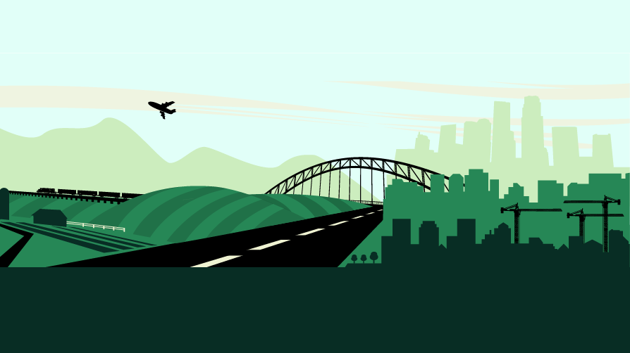 Artifact: graphic depiction of city and rural settings with road and bridge connecting them