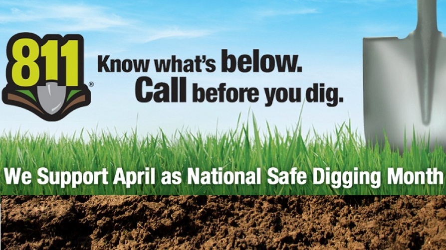 Banner ad supporting Safe Digging Month and Call 8-1-1