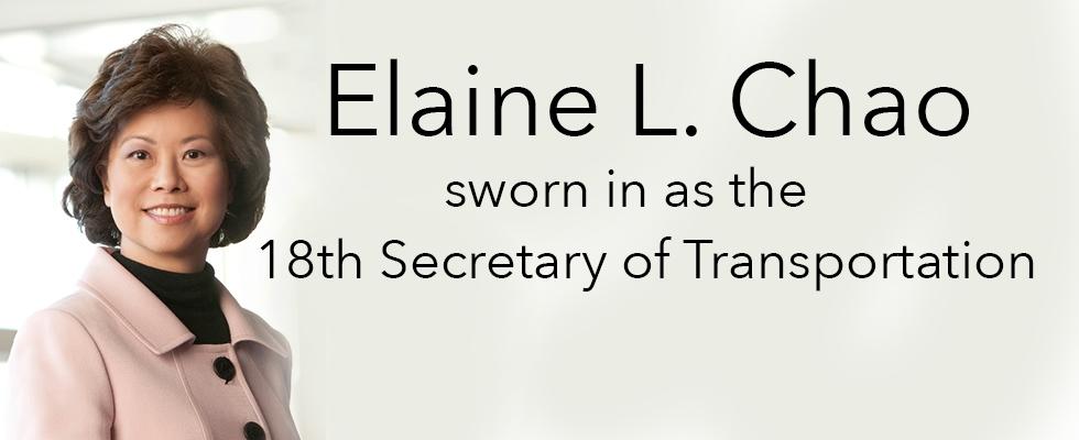 Elaine L. Chao sworn in as 18th Secretary of Transportation