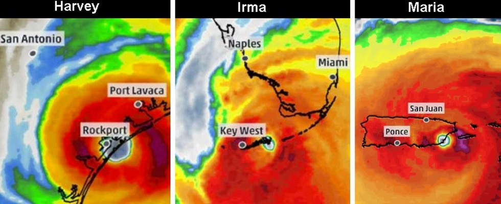 Radar images of Hurricanes Harvey, Irma, and Maria