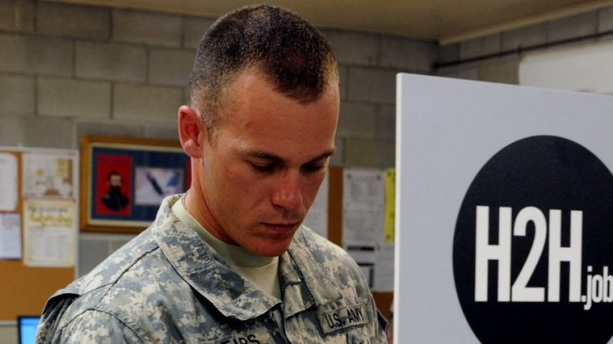 Photo of a serviceman at a Hero2Hired job event