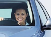 Woman driving a car