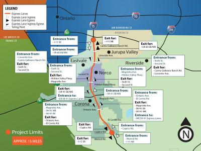 A map of the I-15 Express Lanes Project showing entrance and egress locations