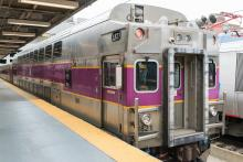 A picture of an MBTA commuter rail car