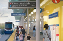 Rendering of Sound Transit Light Rail Lynnwood Link Extension at Shoreline South/145th Street Station