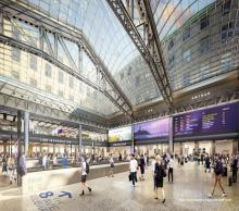 A rendering of the interior of the Moynihan Train Hall