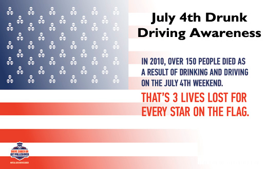 Infographic showing 3 people killed in alcohol-related crashes for every star on the US flag