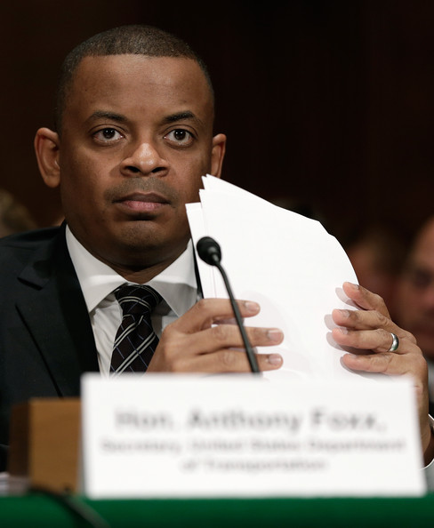 Photo of Secretary Foxx at Senate Committee hearing, courtesy Win McNamee, Getty Images