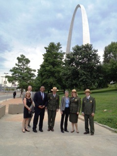 Citizens and Park Rangers near the Arch