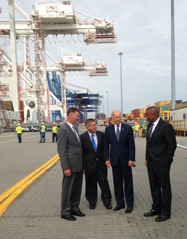 Photo of Secretary Foxx with Vice President Biden at the Port of Baltimore