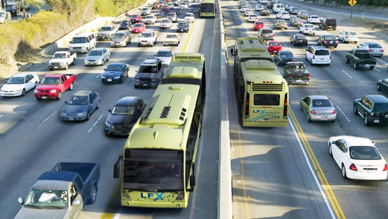 Photo of bus rapid transit system on congested highway