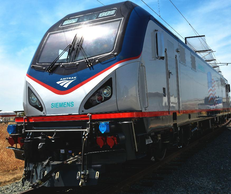 Photo of new Amtrak Cities Sprinter locomotive built by Siemens in the U.S.