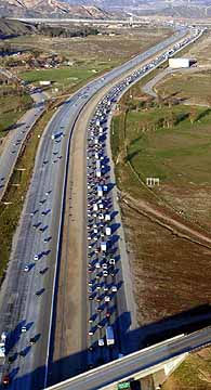 Photo of traffic backed up for miles near the Devore Interchange