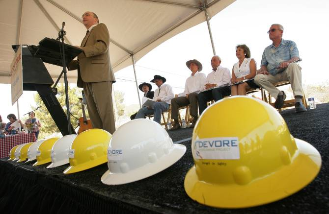 Photo of Greg Nadeau speaking at the Devore groundbreaking