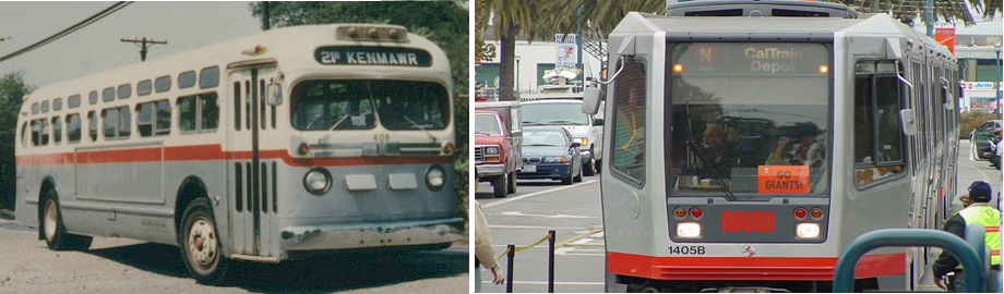 Photo of a transit bus in 1964 and a 2012 light rail train