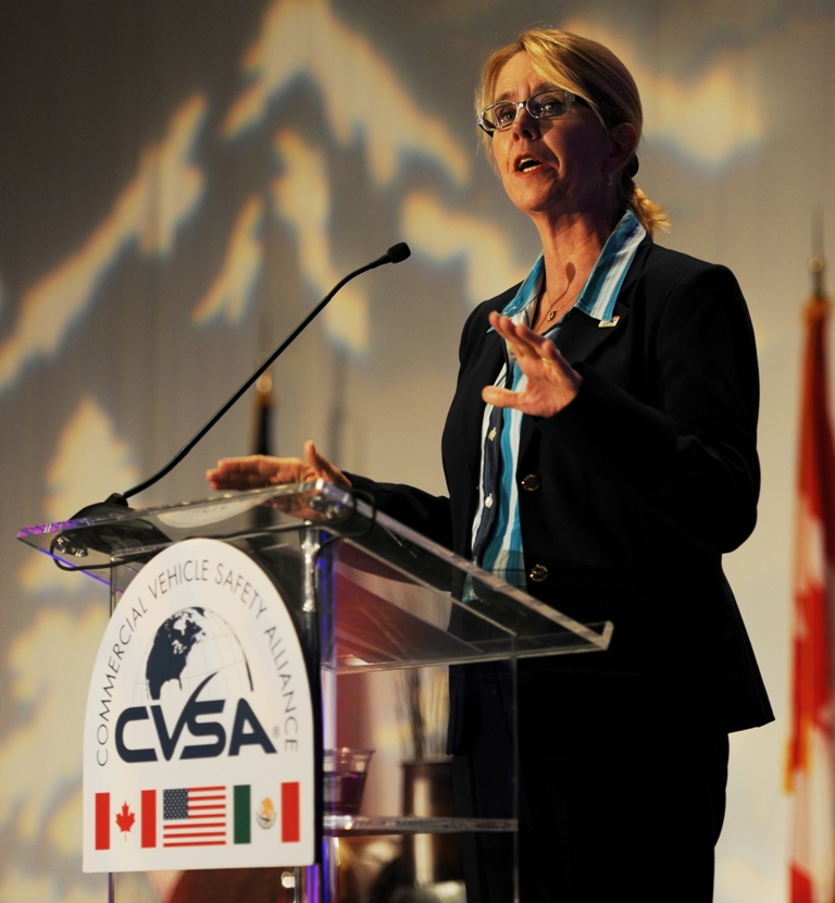 Photo of Anne Ferro at C.V.S.A. podium