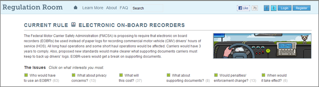 Screenshot of the DOT Regulation Room homepage