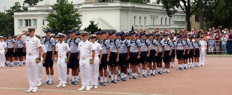 Photo of plebe candidates in their first formation