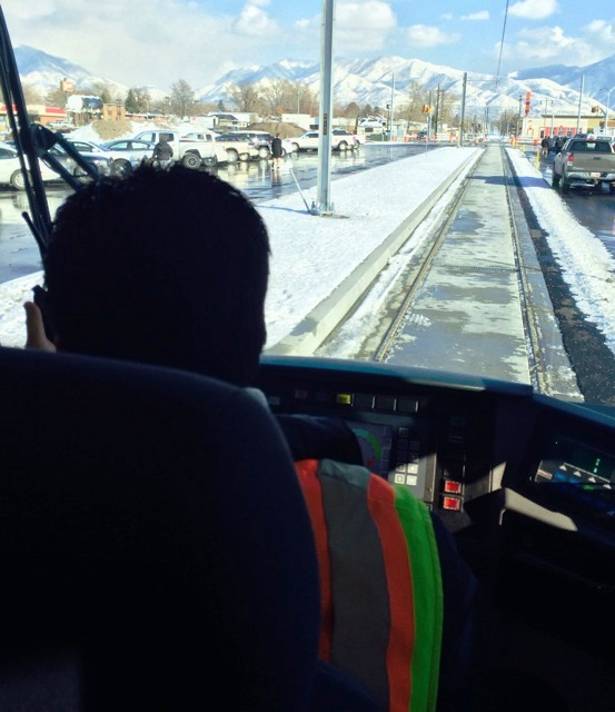 Photo from the cab of the new streetcar looking out