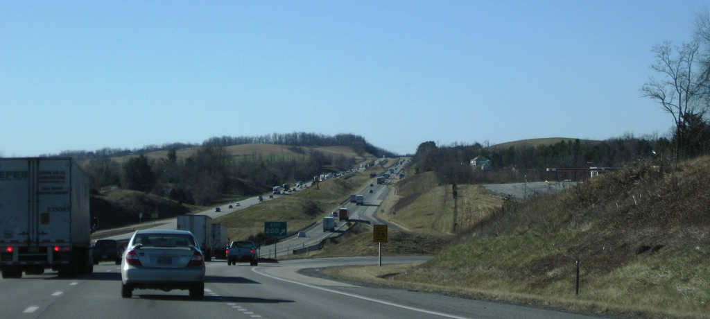 Photot of truck traffic on I-64