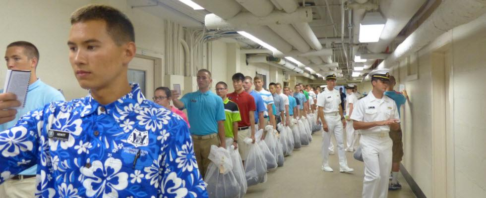 Photo of plebe candidates in hallway