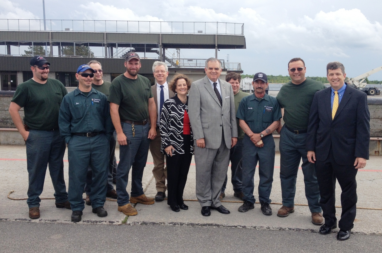 Photo of Secretary LaHood with a group of Seaway employees in Massena, NY
