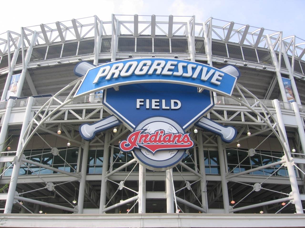 Photo of front of Progressive Field in Cleveland with Indians logo