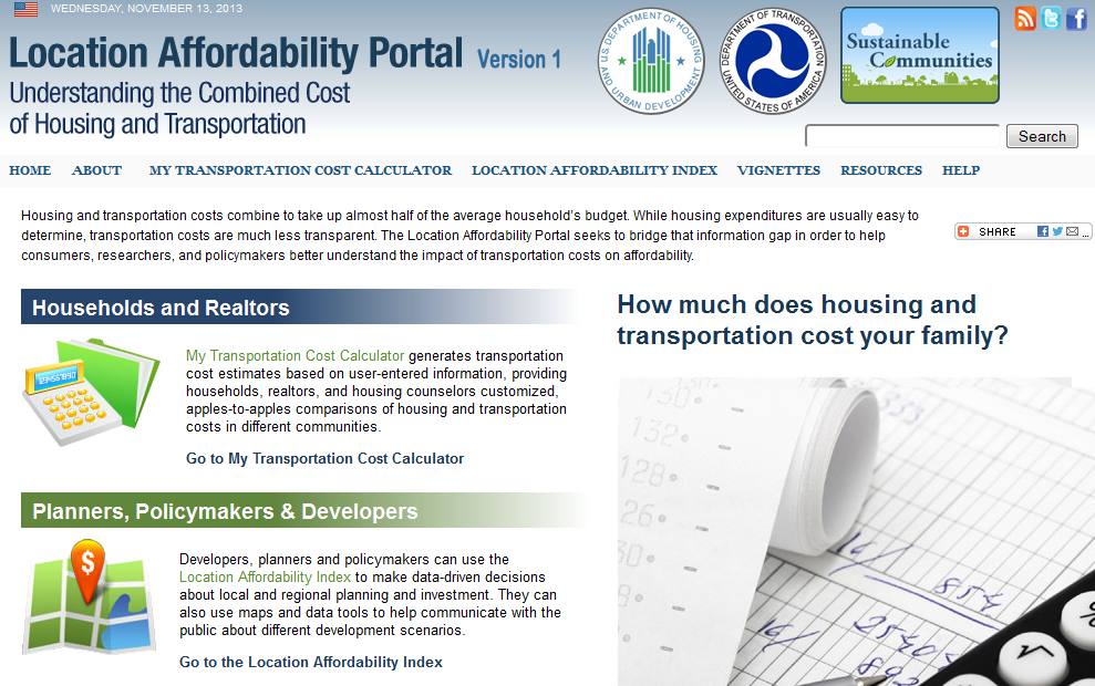 Screenshot of location affordability portal