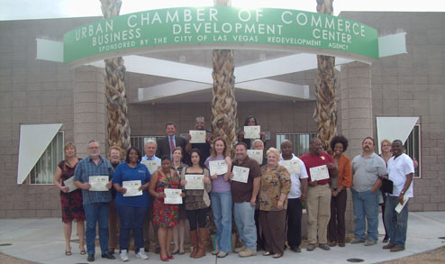Pictured: SW SBTRC Project Director, Scott Leslie, with the class participants holding their certificates in front of the Urban Chamber of Commerce Business Development Center where the educational component of the BEP was held.