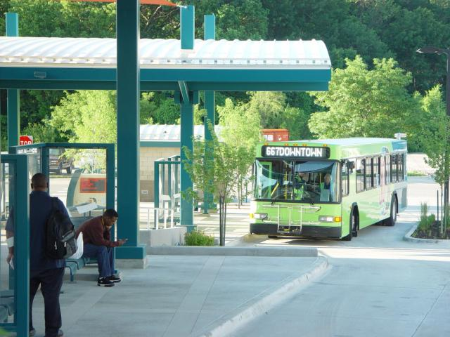 Photo of Downtown-bound bus at Mission Transit Center