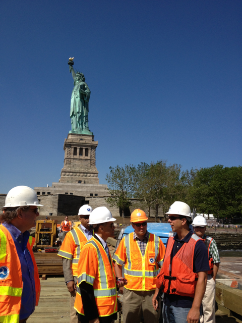 Photo of FHWA Administrator  Mendez touring construction sites on Liberty Island