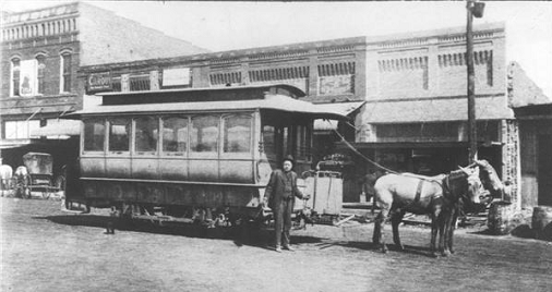 Historic photo of mule-drawn streetcar