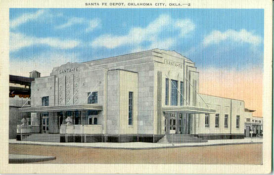 Historic postcard depicting Oklahoma City's Santa Fe Depot