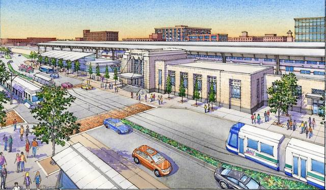 Artist's rendering of the proposed Santa Fe Depot redesign in Oklahoma City
