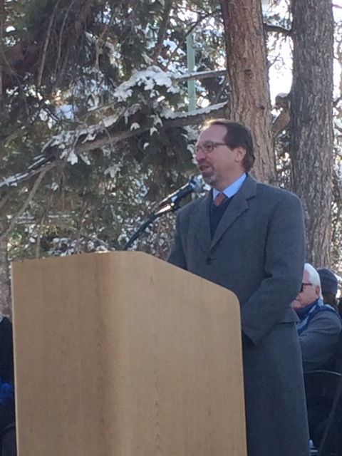 Photo of Peter Rogoff speaking at S-line opening