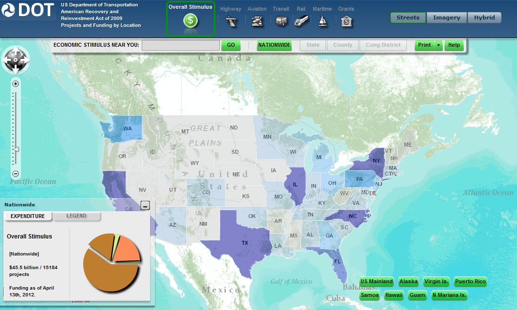 Screen Shot of Interactive Map of Recovery Projects