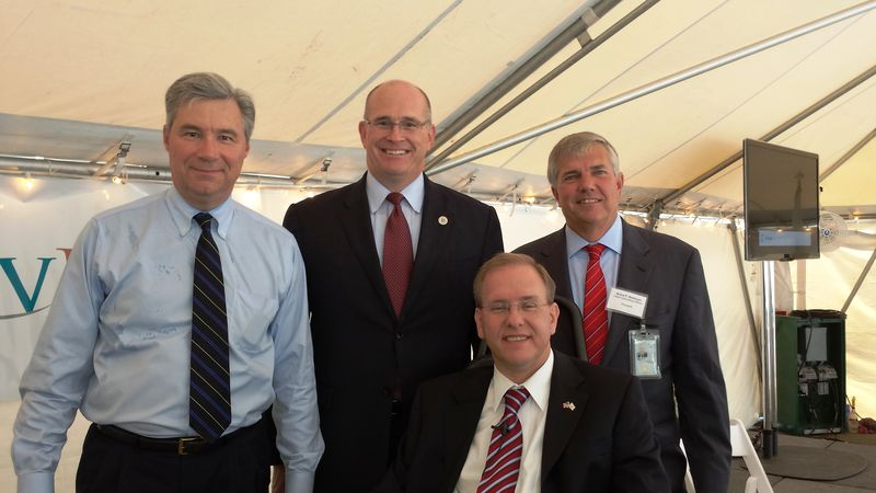 Photo of Rep. Jim Langevin (front), Sen. Sheldon Whitehouse, Acting Maritime Administrator Paul 'Chip' Jaenichen, and ProvPort Chief Operating Officer Bruce Waterson