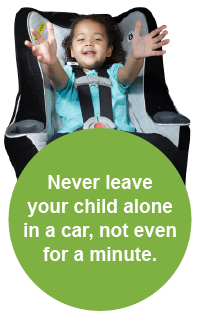 Photo of baby in car seat saying Never leave your child alone in a car, not even for a minute