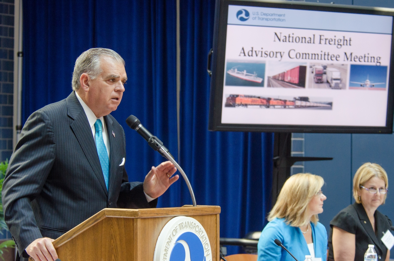 Photo of Secretary LaHood addressing first National Freight Advisory Committee meeting