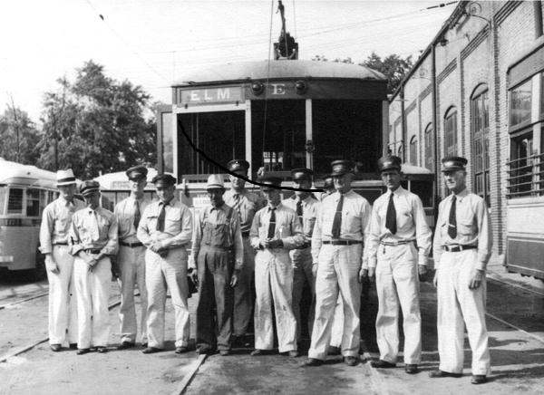 Old picture of trolley drivers