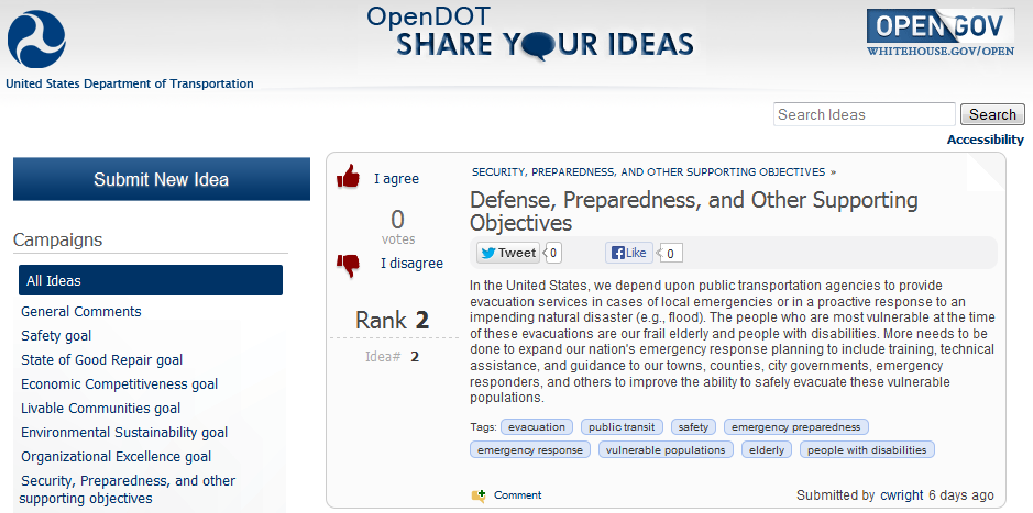 Screen capture of the DOT Strategic Plan Online Dialogue website