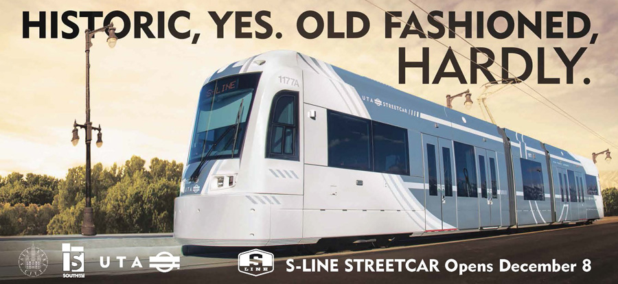 Poster from Utah Transit featuring S-line streetcar