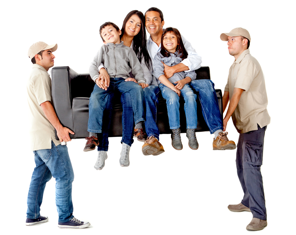 Photo of family on a couch being carried by two movers