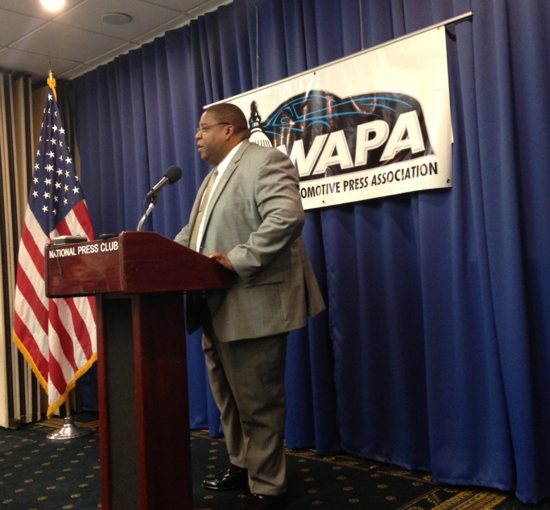NHTSA Administrator David Strickland addresses the Washingon Automotive Press Association on new VIN rule.