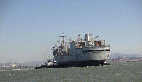 Photo of U.S.S. Kansas City leaving Suisun Bay