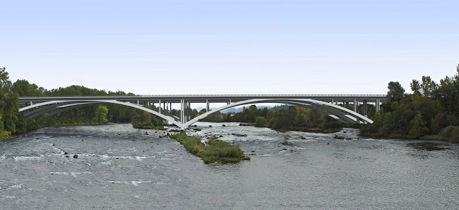 Artist's rendering of the bridge against a photographic background of the Willamette River