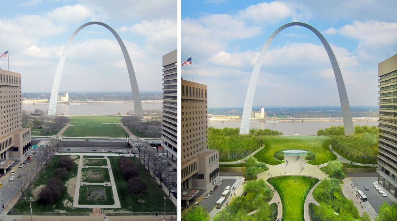Before  and after image with photo of Arch today and rendering of Arch in 2015