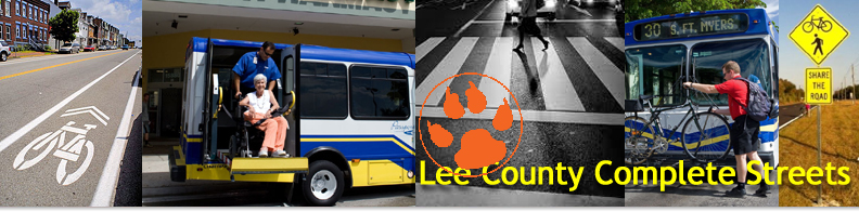 Lee County Complete Streets banner with tiger pawprint