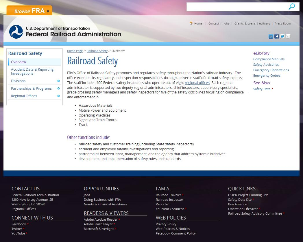 FRA's Website After Redesign: FRA's Railroad Safety page after the redesign, with streamlined menus, less text, and important links easy to find at the bottom of the page.