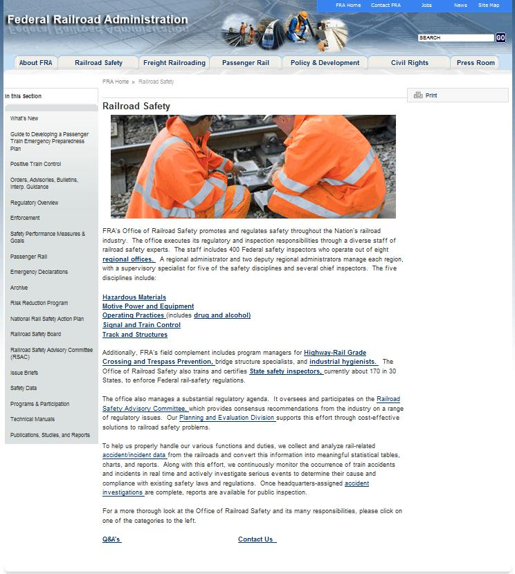 FRA Website Before Resdesign: FRA's Railroad Safety page, with too much text, links buried inside paragraphs, and important links too small to stand out.